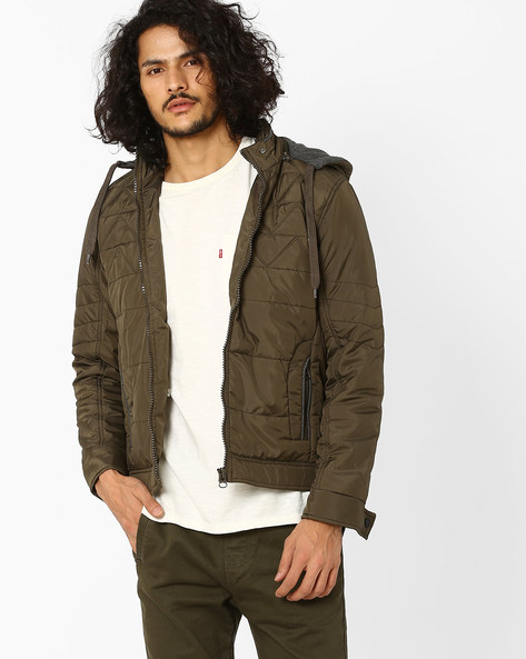Regular Fit Quilted Jacket With Hood By Fort Collins ( Olive )