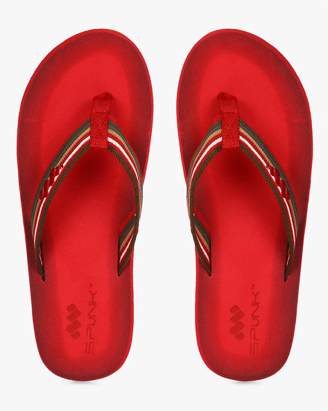 Flip-Flops With Striped Straps By Spunk ( Red )