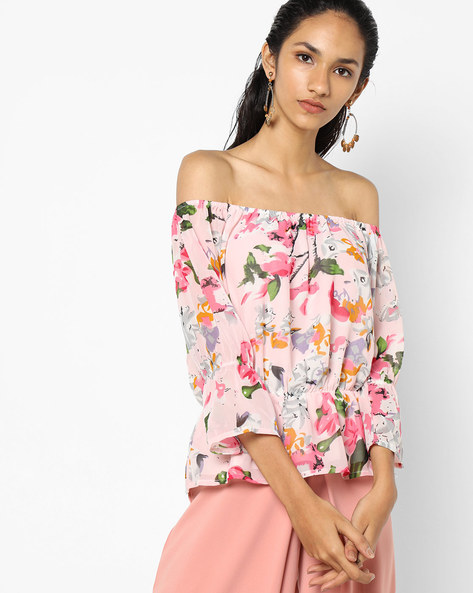 Floral Print Off-Shoulder Top By Sassafras ( Pink )