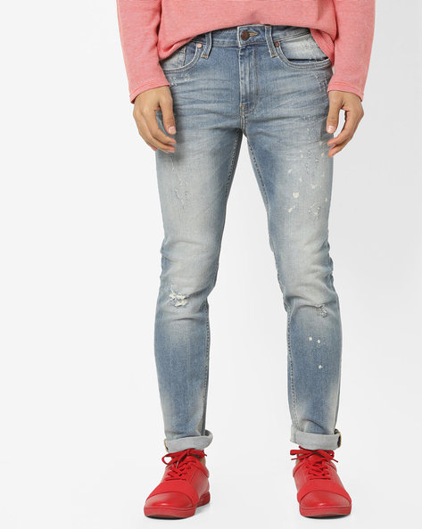 Super Slim Fit Distressed Jeans By ED HARDY ( Blue ) - 460155608001