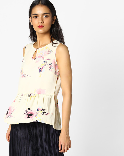 Printed Peplum Top By PE WW Casual ( Offwhite )