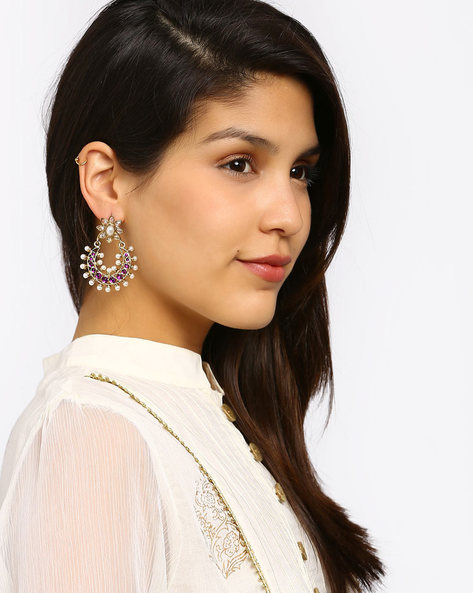 Gold-Plated Stone-Studded Chandbali Earrings By Fida ( Red )