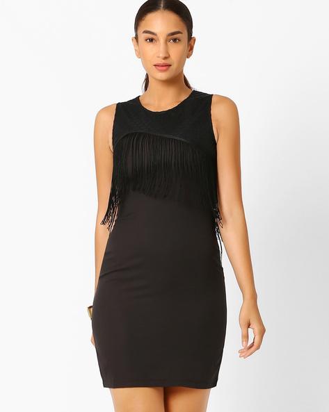 Bodycon Dress With Fringes By AJIO ( Black )