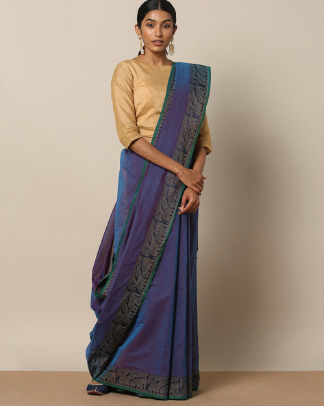 Kanchi Cotton Saree With Woven Border By Indie Picks ( Blue ) - 460164777001