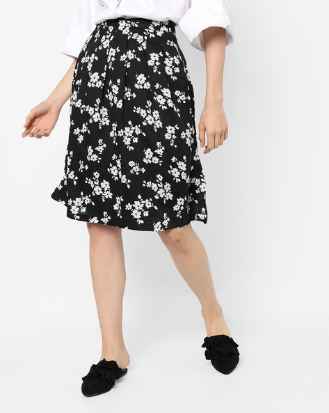 Floral Print Straight Skirt By Project Eve WW Casual ( Black )