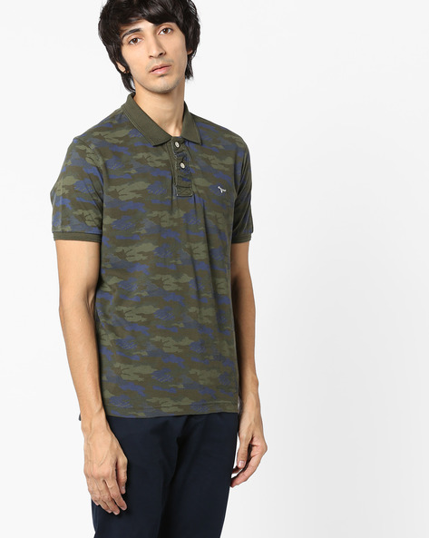 Printed Jacquard Polo T-shirt By FLYING MACHINE ( Olive )