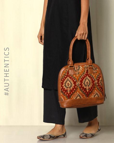 Handblock Print Kalamkari Kilim Vegan Leather Shoulder Bag By A BIG INDIAN STORY ( Tan )