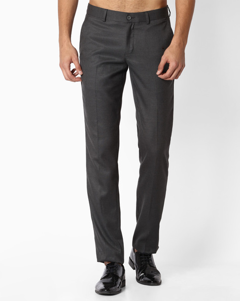 Flat-Front Slim Fit Trousers By NETWORK ( Charcoal )