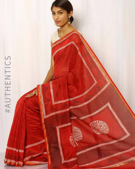Hand Block Print Chanderi Saree By Keri ( Golden ) - 460014717001