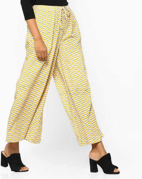 Printed Palazzos With Drawstring Waist By Project Eve IW Casual ( Yellow )