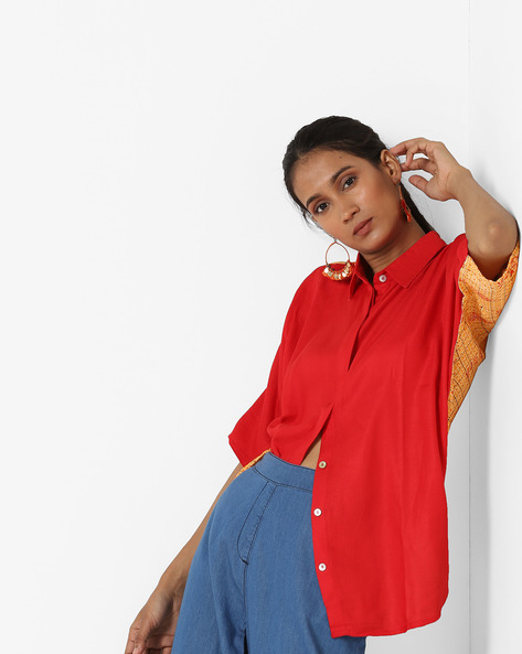 Colourblack Shirt With Spread Collar By Zizo By Namrata Bajaj ( Red )