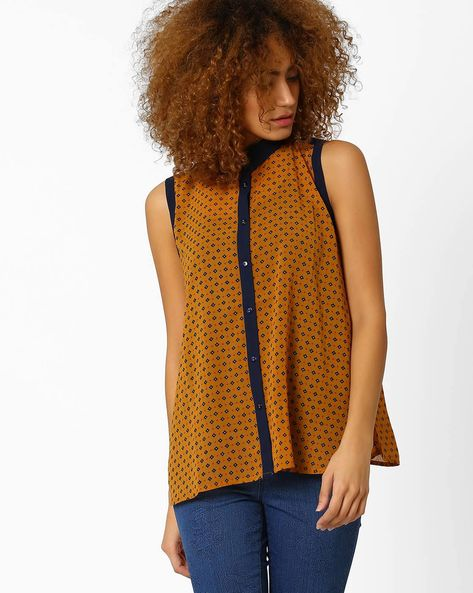 Regular Fit Printed Sleeveless Shirt By Wills Lifestyle ( Orange )