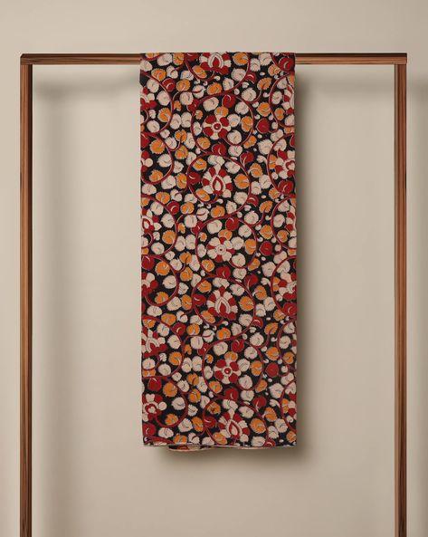 Printed Cotton Kalamkari Kurta Fabric By Indie Picks ( Black ) - 460103637001
