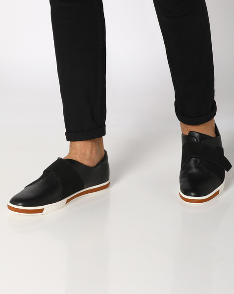 Low-Top Sneakers With Overlay By AJIO ( Black )