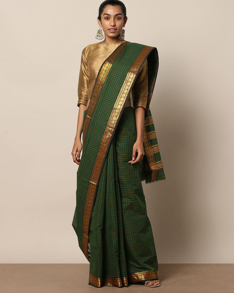 South Cotton Checked Saree With Zari Work By Indie Picks ( Green )