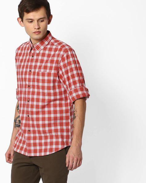 Checked Shirt With Curved Hem By INDIAN TERRAIN ( Red ) - 460060802011