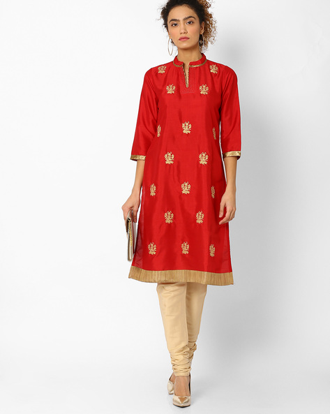 Straight Kurta With Floral Embroidery By Rangriti ( Red )