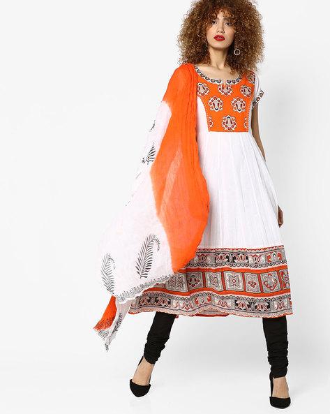 Printed Anarkali Kurta With Churidar & Dupatta By Rain & Rainbow ( Orange )
