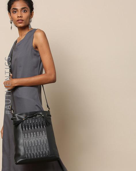 Handloom Ikat Vegan Leather Sling Bag By A BIG INDIAN STORY ( Black )