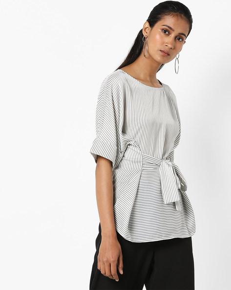 Striped Top With Tie-Ups By Vero Moda ( White )