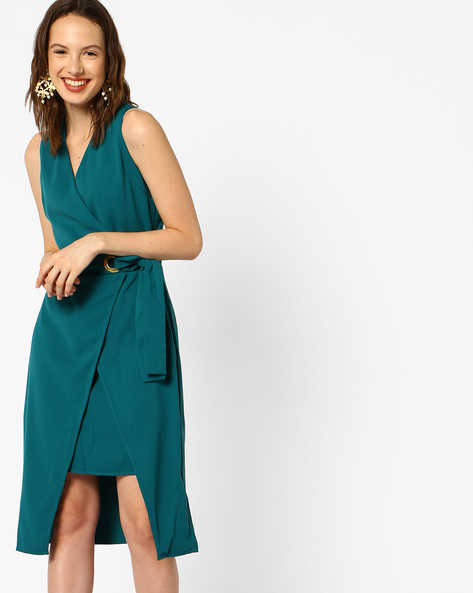 Shift Dress With Asymmetric Hem By AJIO ( Green )