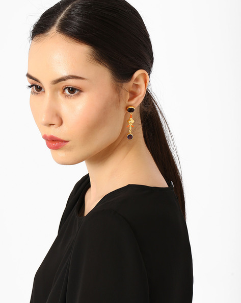Drop-Earrings With Gemstones By AJIO ( Gold ) - 460054035001