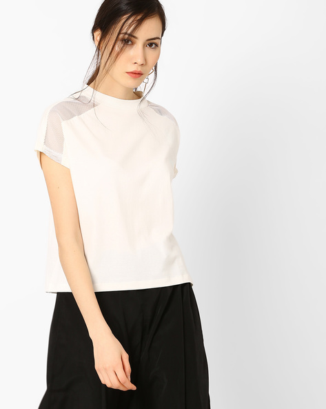 Boxy Top With Cap Sleeves By AJIO ( Offwhite )