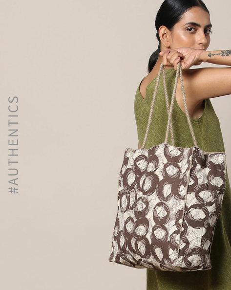Sanganeri Handblock Print Cotton Jute Handbag By Awdhesh Kumar ( Black )