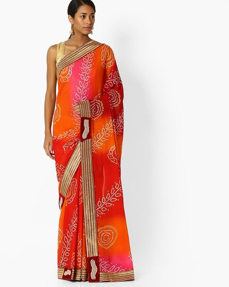 Printed Saree With Contrast Border By Shonaya ( Rose )