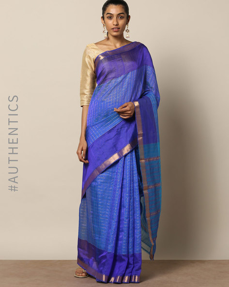 Handloom Mangalgiri Checked Cotton Silk Saree By Indie Picks ( Yellow )