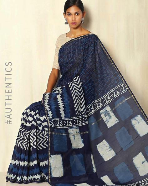 Handblock Print Indigo Chanderi Saree With Zari Border By Indie Picks ( Indigo ) - 460053740001