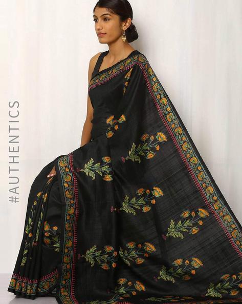 Hand Block Print Pure Silk Saree By Indie Picks ( Black )