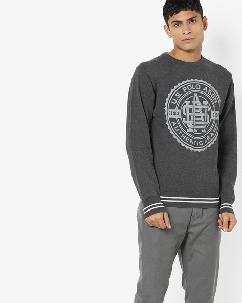 Printed Crew-Neck Pullover With Ribbed Hems By US POLO ( Darkbrown )