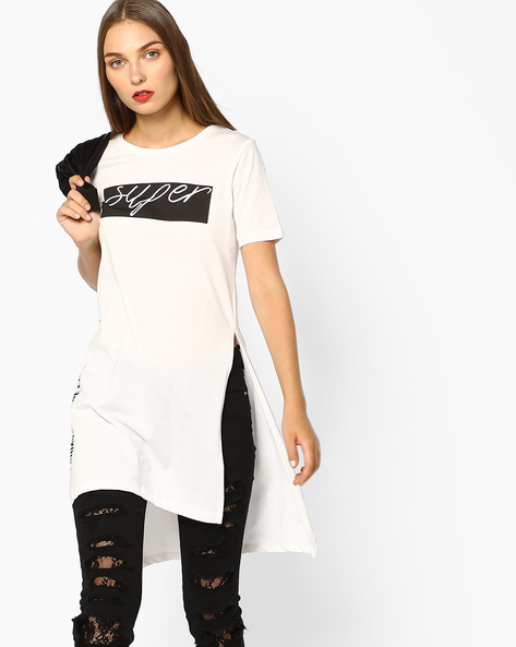 Foil Print High-Low Jersey Tunic By AJIO ( Offwhite )