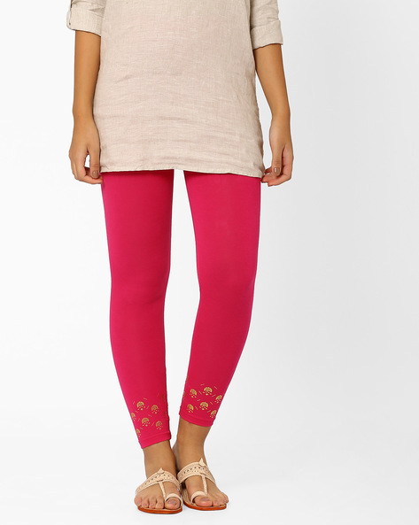 Leggings With Printed Hems By Indian Ink ( Fuschia )