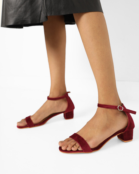 Chunky Heel With Side Buckle By MFT Couture ( Wine )