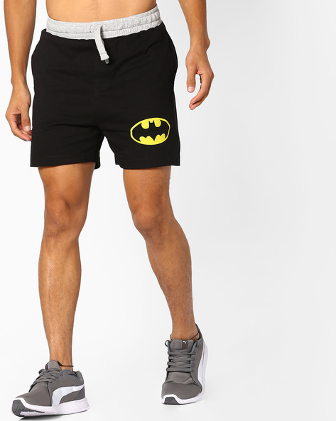 Batman Print Shorts With Drawstring Fastening By Free Authority ( Black )