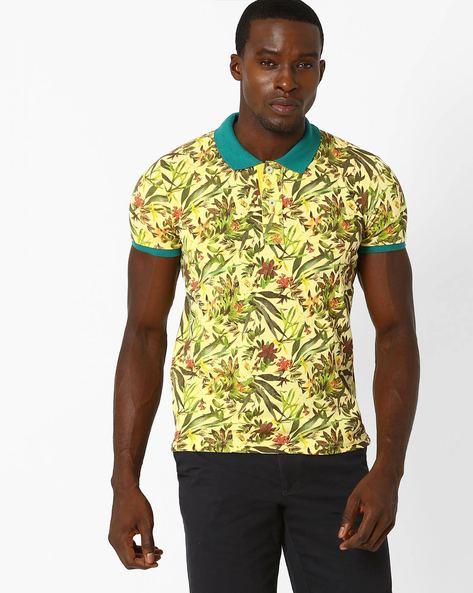 Tropical Print Polo T-shirt By DUKE ( Ltgreen )