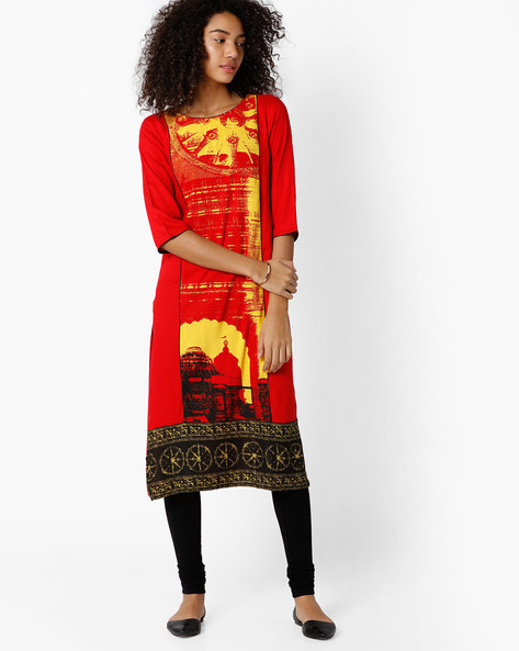 Graphic Print Straight Kurta By AURELIA ( Red )