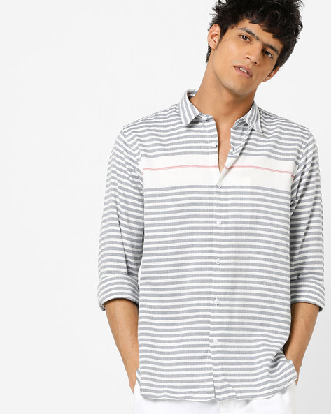 Striped Cotton Shirt With Curved Hem By Pepe Jeans ( Navy )