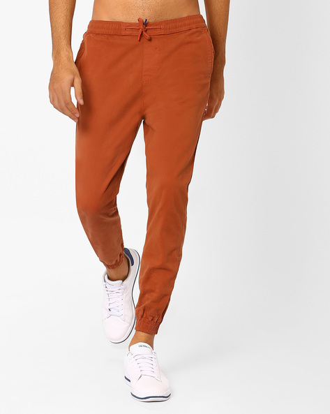 Cotton Jogger Pants By Nature Casuals ( Brown )