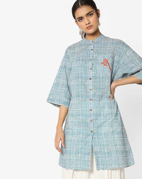 Checked Shirt Kurta With Drop Shoulders By AJIO ( Blue )