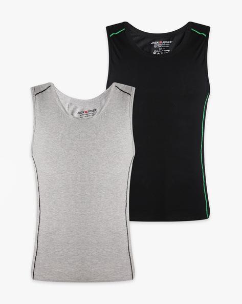 Round Neck Sleeveless Vest By Jack & Jones ( Lightgrey )