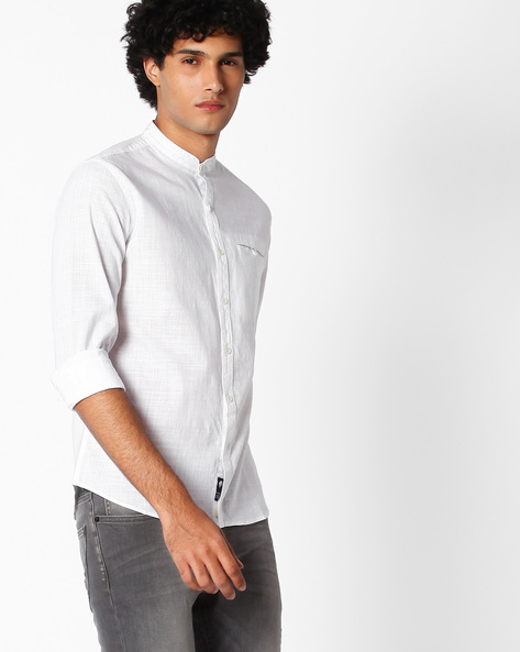 Cotton Shirt With Band Collar By NETPLAY ( White )