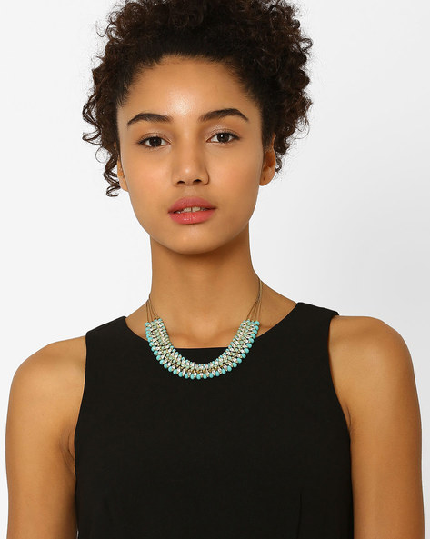 Beaded Collar Necklace With Stone Embellishments By BLUEBERRY ( Green )
