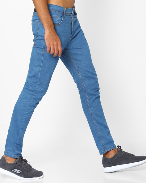 Slim Fit Jeans With Belt Loops By ADAMO LONDON ( Lightblue )