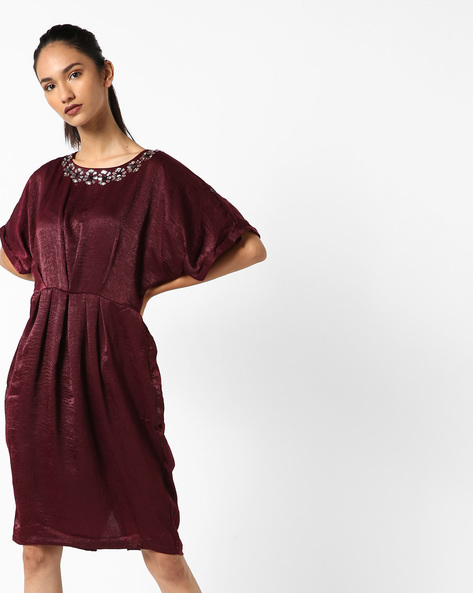 Pleat-Front Dress With Embellishments By Project Eve WW Evening ( Red )