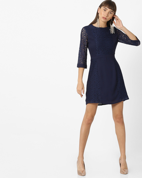 Skater Dress With Lace Panels By Oxolloxo ( Navyblue )