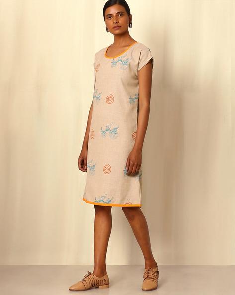 Hand-Block Printed Linen Dress By Ek Taara ( Multi )