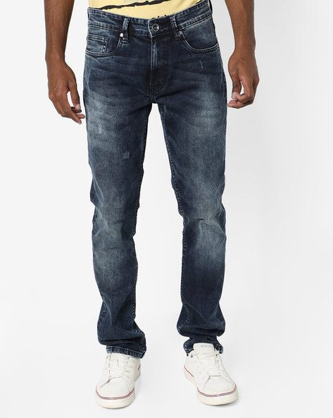 Mid-Rise Jeans With Light Distress By AJIO ( Blue )